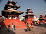 Kathmandu Durbar Square is a complex of beautiful Hindu temples and shrines built in the 16th and 17th centuries in pagoda style embellished with intricately carved exteriors. Trailokya Mohan Narayan, Maju Deval and Narayan Temples shine in the early morning sun. Trailokya Mohan Narayan Temple (1690) stands on a five-stage plinth with three roofs and is dedicated to Vishnu.
